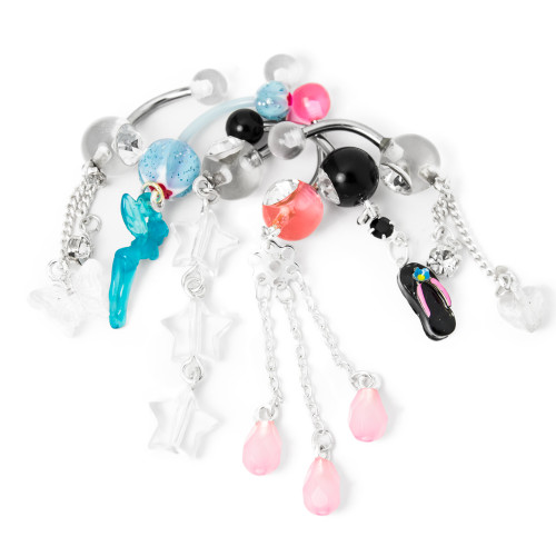 6 Acrylic Dangle Belly Ring Pack - 14ga Acrylic and 316L Surgical Steel w/CZ Gem