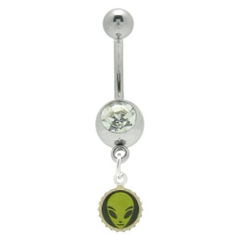 Alien Jeweled 14 gauge  Dangle Navel Ring