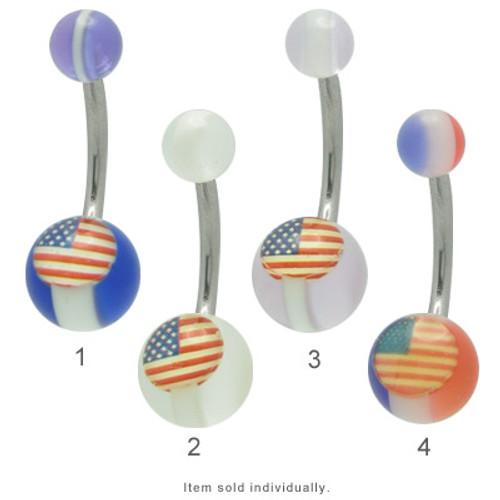 American Flag 14 gauge Navel Barbell