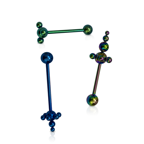 Tongue Barbells Anodized Titanium with Assorted Bubble Design 14 Gauge - 3pc