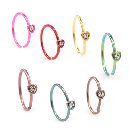 Anodized Titanium Bendable Nose Hoop rings with Heart Design and Cubic Zirconia Stone 20G