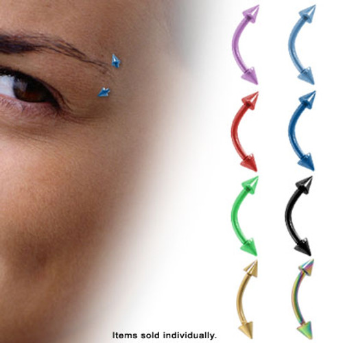Anodized Titanium Neon Eyebrow Rings (16G) - T87NEON-2