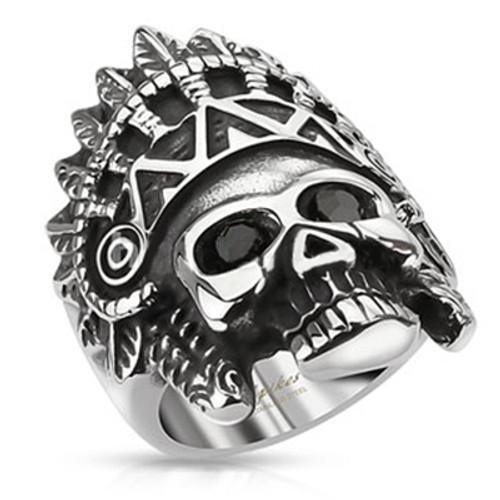 Apache Headress Skull Ring
