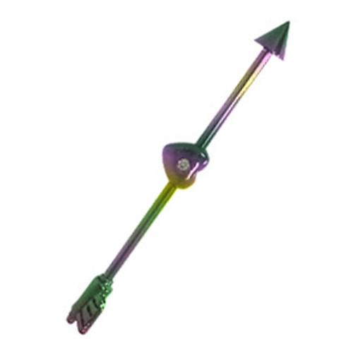 Arrow Thru Heart  AnodizedTitanium 14 gauge Industrial Barbell