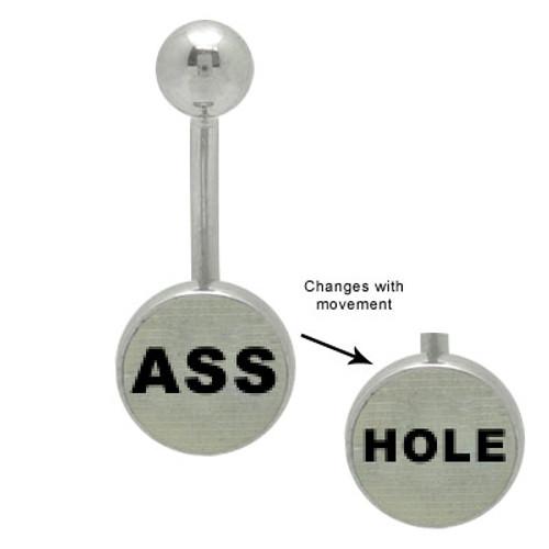 Asshole Hologram 14g Logo Belly Ring