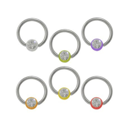 Surgical Steel Captive Bead Ring with Acrylic Jeweled Bead