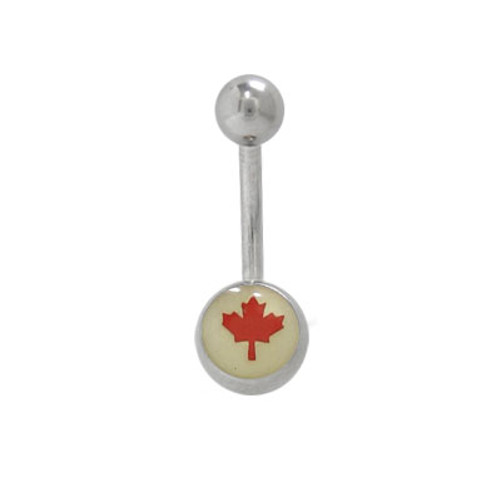 Canadian Flag 14G Belly Ring Surgical Steel