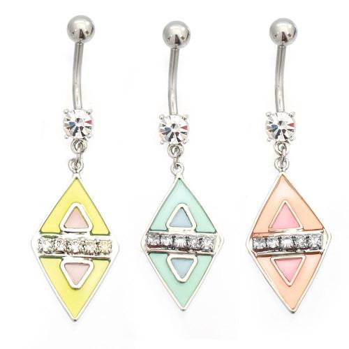 Luxe Modz Pastel Diamond Design Dangle Belly Button Ring 14ga Surgical Steel