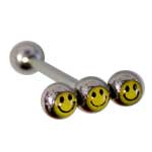 Body jewelry, 316L surgical steel with 3 Logo bead, Barbell Tongue ring