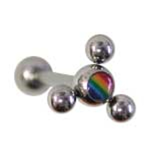 Body jewelry, 316L surgical steel with abstract design replacement bead and Logo, Barbell Tongue ring