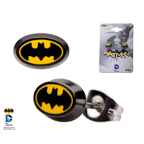 Pair of Enamel Oval Batman Logo Round Ear Studs