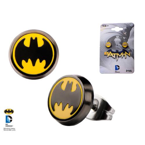 Enamel Batman Logo Round Ear Studs