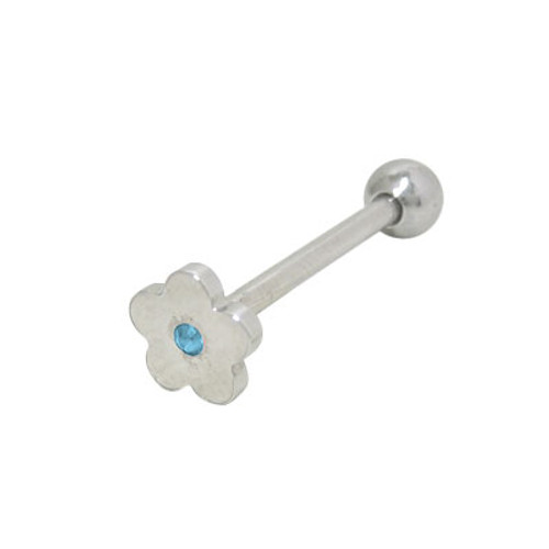 Barbell Tongue Ring Surgical Steel with Flat Head Jeweled Flower