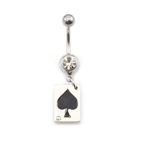 Ace of Spades Design Belly Button Ring 14ga Surgical Steel