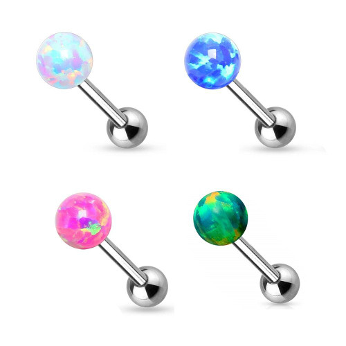 Tongue Ring White Opal Ball 14GA Internally Threaded Surgical Steel Barbell