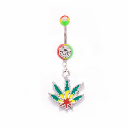 Rasta Marijuana Pot Leaf Dangle Belly Button Ring 14ga