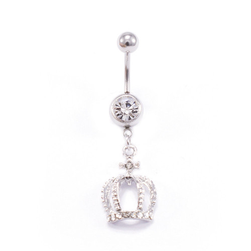 Crown Design 14G 316L Surgical Steel Dangle Belly Button Ring with CZ Jewels