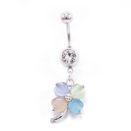 Four Leaf Flower Design 14ga Dangle Belly Button Ring