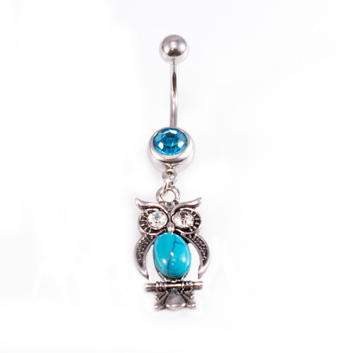 Owl Dangle Design with Turquoise and Aqua CZ Jewels Belly Button Ring 14ga