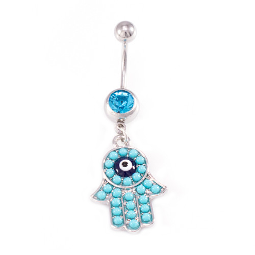Hamsa Hand Dangle Design and Aqua CZ Jewels Belly Button Ring 14ga