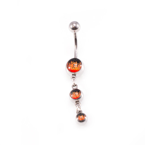 Fire Design Dangle Belly Button Ring 14g Surgical Steel