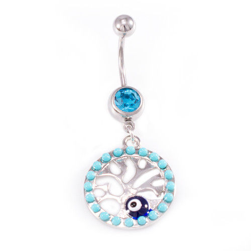 Tree of life Dangle Design with Aqua CZ Jewels Belly Button Ring 14 ga