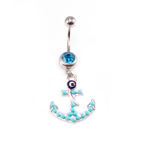 Anchor Dangle Design with Aqua CZ Jewels Belly Button Ring 14ga