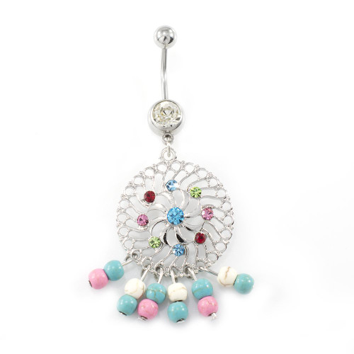 Circular Dangle Belly Ring with Hipster Beads 14ga
