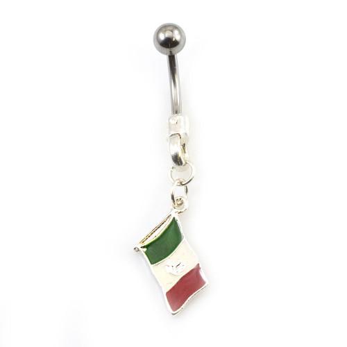 Mexican Flag Dangle Belly Button Ring 14ga