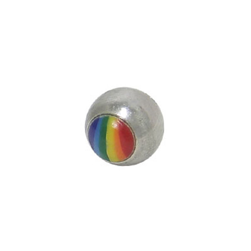 Replacement Bead Surgical Steel Threaded with Rainbow Logo