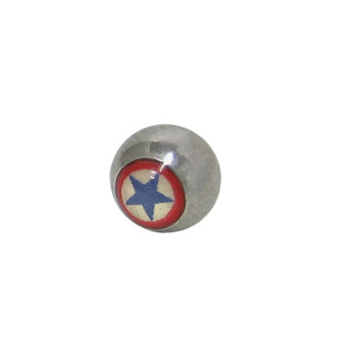 Replacement Bead Surgical Steel Threaded with Star  Logo