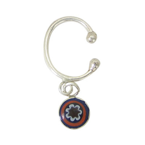 Belly Button Clip Sterling Silver Non-Piercing  with Enamel / Dangling Design