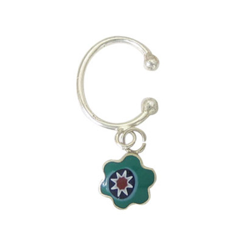Belly Button Clip Sterling Silver Non-Piercing with Green Dangling Flower Design