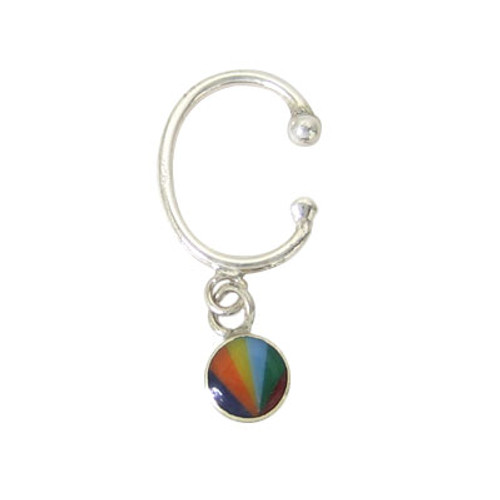 Belly Button Clip Sterling Silver Non-Piercing with Dangle Rainbow Design