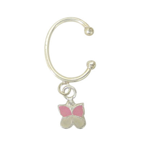 Navel Clip Sterling Silver Non-Piercing with Dangling Butterfly