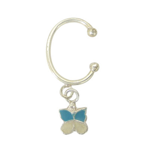 Belly Button Clip Sterling Silver Non-Piercing with Dangling Butterfly