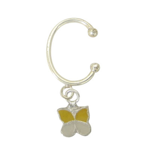 Silver Navel Clip with Colorful Dangler Butterfly