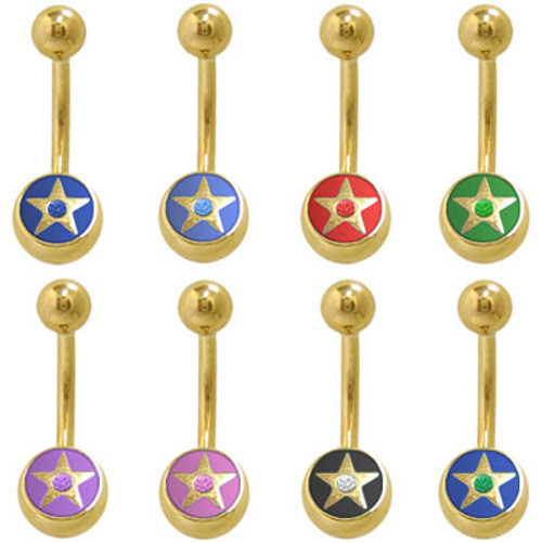 14k Gold Plated Star Belly Button Ring with Jewel