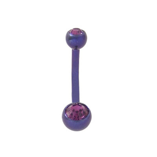 14 gauge Belly Button Ring Solid Titanium Double Jewel Design