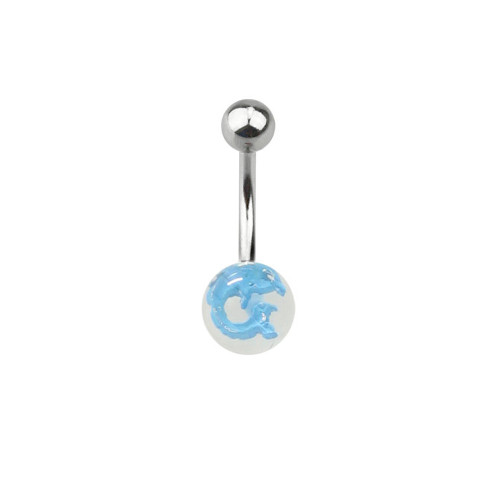 Belly Button Ring Surgical Steel, Acrylic Ball with Dolphin Design (14g)