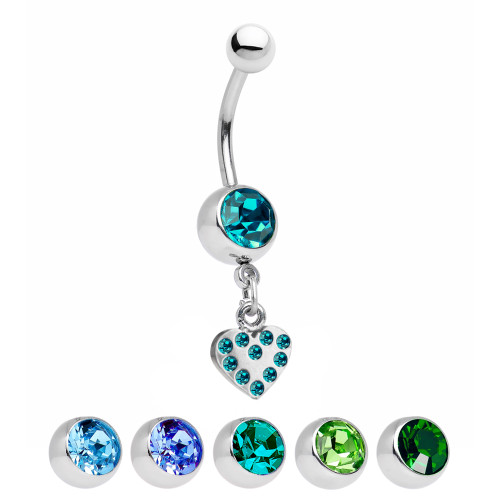 Heart Dangle Belly Ring with CZ Gems