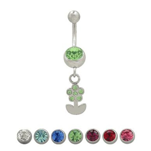 (14 Gauge) Flower and Petals Dangler Navel Jewelry