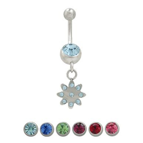 (14 Gauge)Belly Button Ring Surgical Steel Dangling Flower Design with Jewels