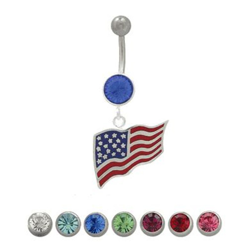 14 gauge Belly Button Ring Surgical Steel Dangling American Flag