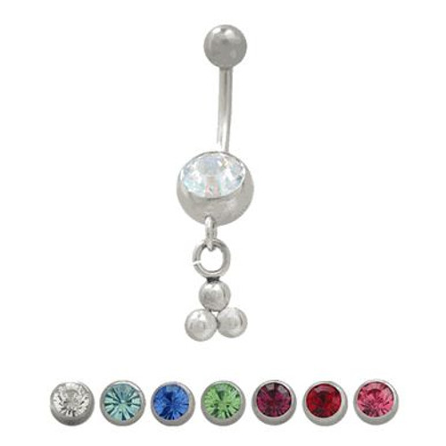(14 gauge) Belly Button Ring Surgical Steel Dangling Design