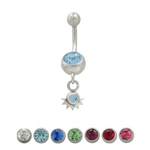(14 gauge) Belly Button Ring Surgical Steel Dangling Design with Jewels