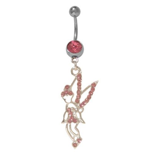 14 gauge Belly Button Ring Surgical Steel Dangling Fairy with CZ Jewels