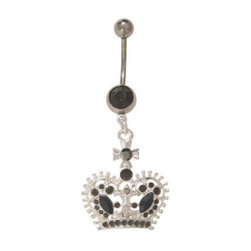 (14 gauge) Belly Button Ring Surgical Steel Dangling Crown with Jewels