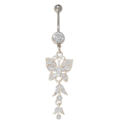 14 gauge Belly Button Ring Surgical Steel Dangling Butterfly with Jewels