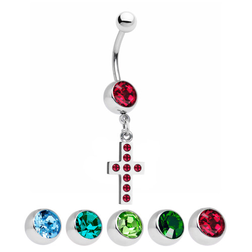 Cross Design  Dangle Belly Ring with CZ Gems